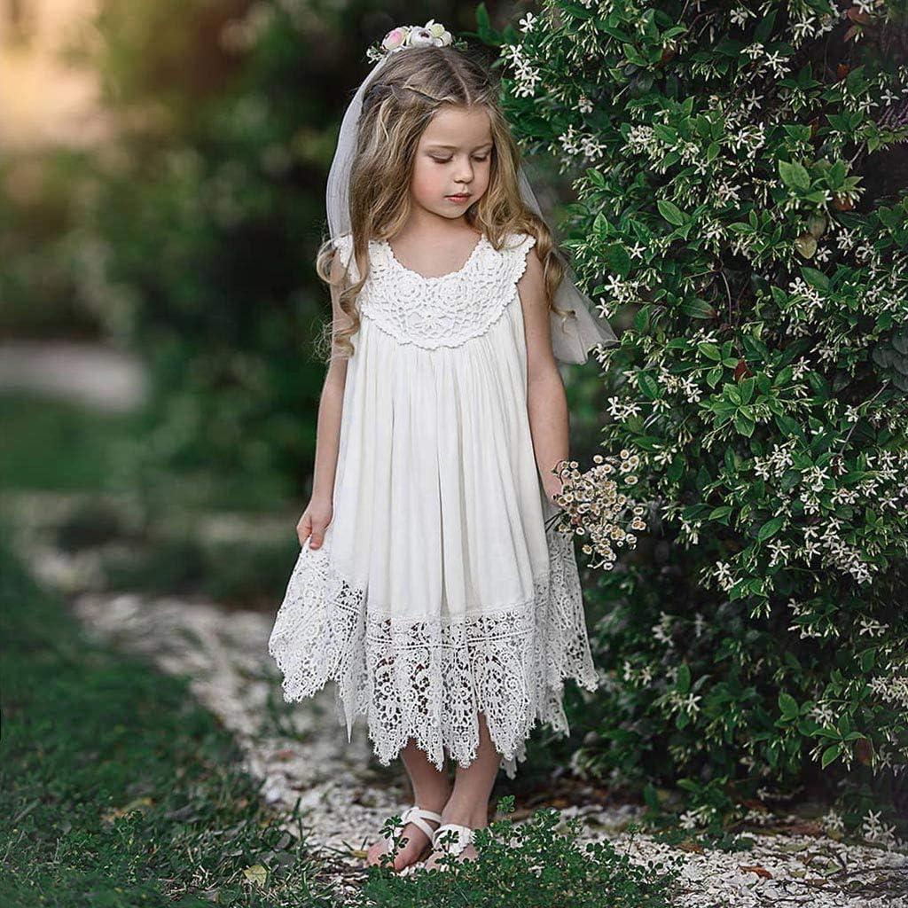 Waymine Infant Baby Girl Sleeveless Ruffles Lace Sundress Princess Dress Clothes