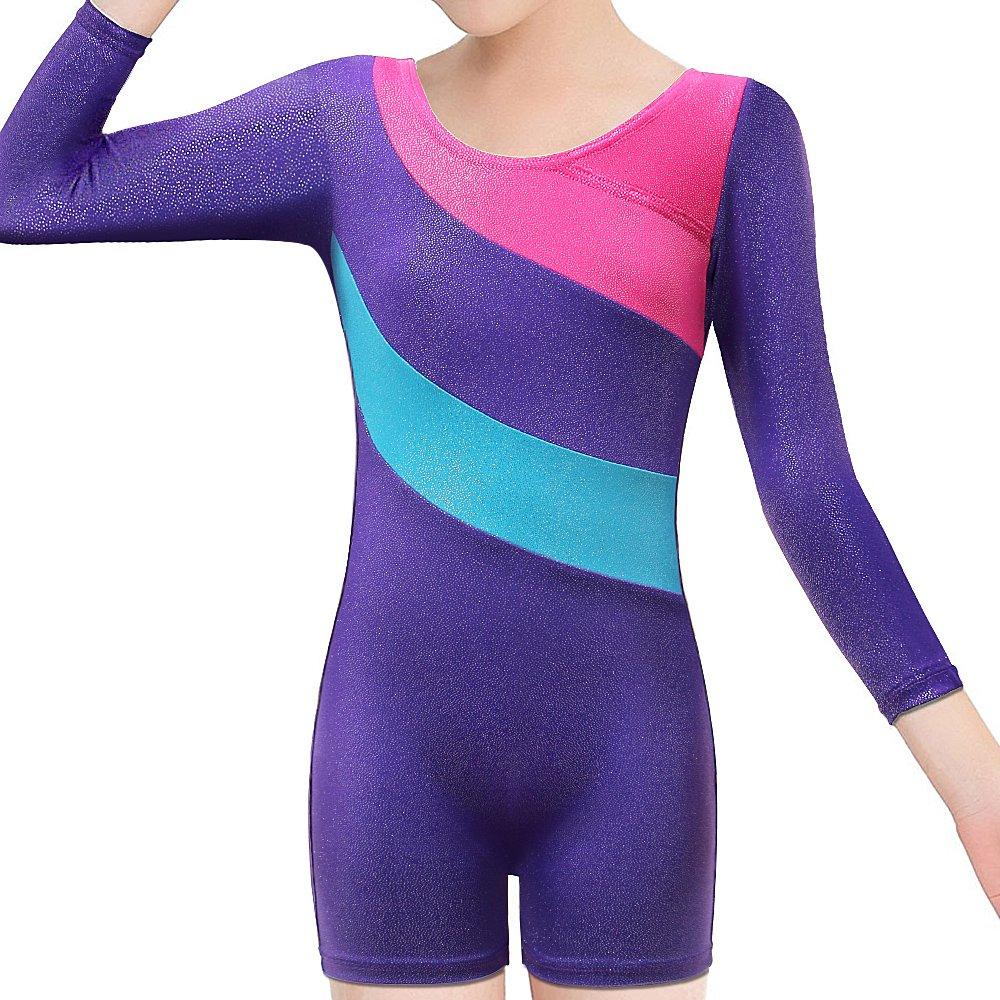 BAOHULU Toddlers Girls Gymnastics Dance Leotards-One-piece Sparkle Stripes & Stiching Athletic Clothes Purplelongsleeve 120(5-6T)