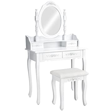 tectake coiffeuse meuble table de maquillage miroir tabouret 4 tiroirs blanc