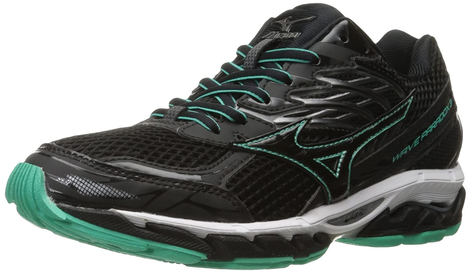 Mizuno Women's Wave Paradox 3 Running Shoe B019PDC8BQ 7.5 B(M) US|Black-electric Green