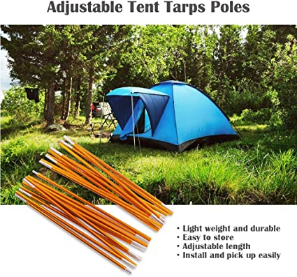 bobotron 2Pcs 4 Section Tent Pole Adjustable Tarp Poles Tarp for Camping Backpacking Hammocks Shelters and Awnings