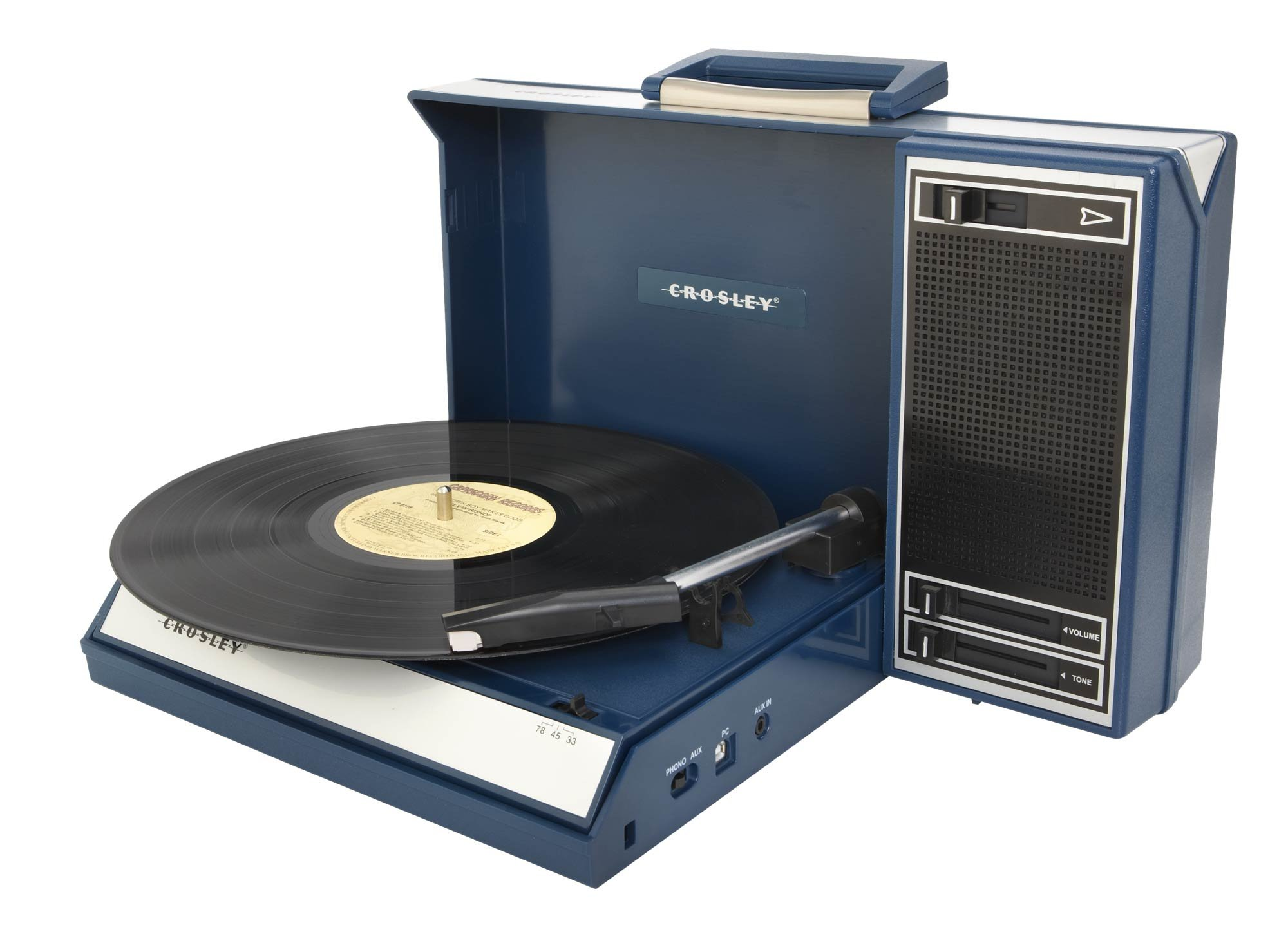 Crosley CR6016A-BL Spinnerette Portable USB Turntable with Software for Ripping and Editing Audio, Blue by Crosley