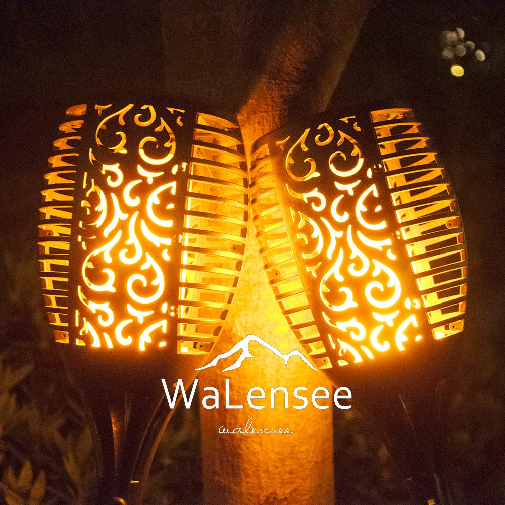 Walensee Solar Lights Outdoor Upgraded, Waterproof Flickering Flames Torch Lights Outdoor Solar Spotlights Landscape Decoration Lighting 96 LED Dusk to Dawn Auto On/Off Security Torch Light (4 Pack) by Walensee (Image #5)