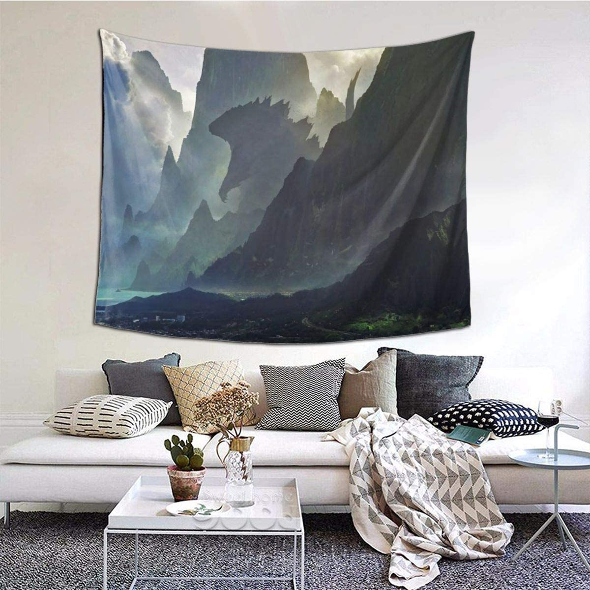 TRdY PAGE Godzilla Out of The Mountain Prints Tapestries Artwork Wall Blanket Tapestry Wall Hanging Wall Art Poster for Dinning Room Party Modern Wall Decor 90x60in 229x152cm