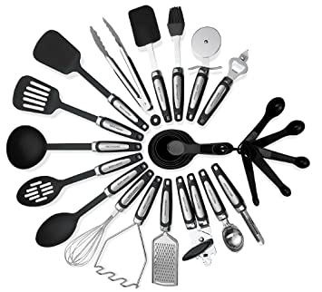 Kitchen Utensils Sets 26 Pieces   Stainless Steel And Nylon Cooking Tools  Spoons, Turners,