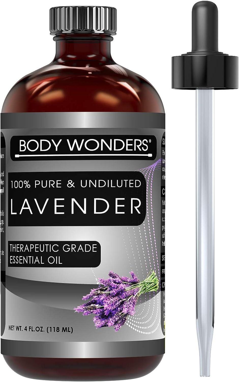 Body Wonders 100% Pure & Undiluted Lavender Therapeutic Grade Essential Oils 4 Fl Oz 118 Ml