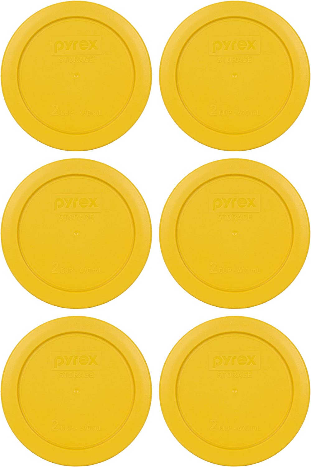 Pyrex 7200-PC 2 Cup Butter Yellow Round Plastic Food Storage Lids - 6 Pack