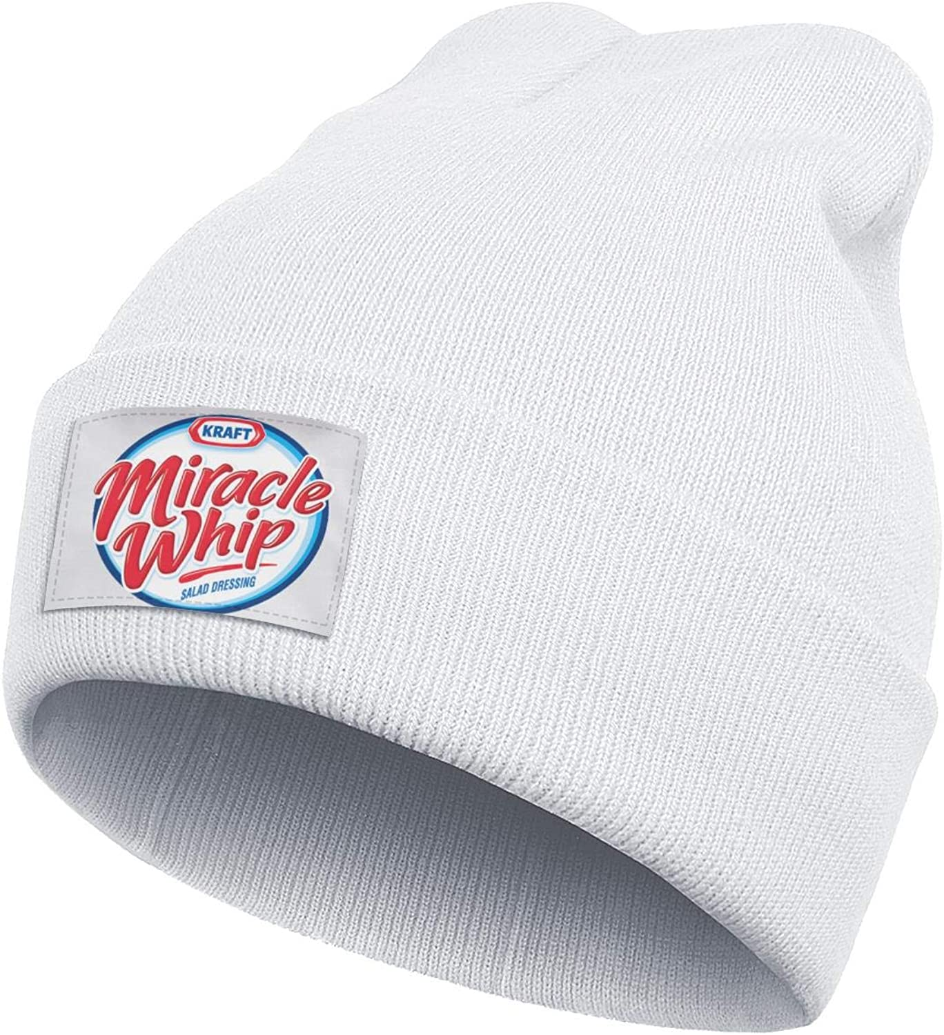 CAWFA98 Unisex Personalised Miracle-Whip- Winter Thick Fine Knit Hat Flat Brim White Beanie Caps