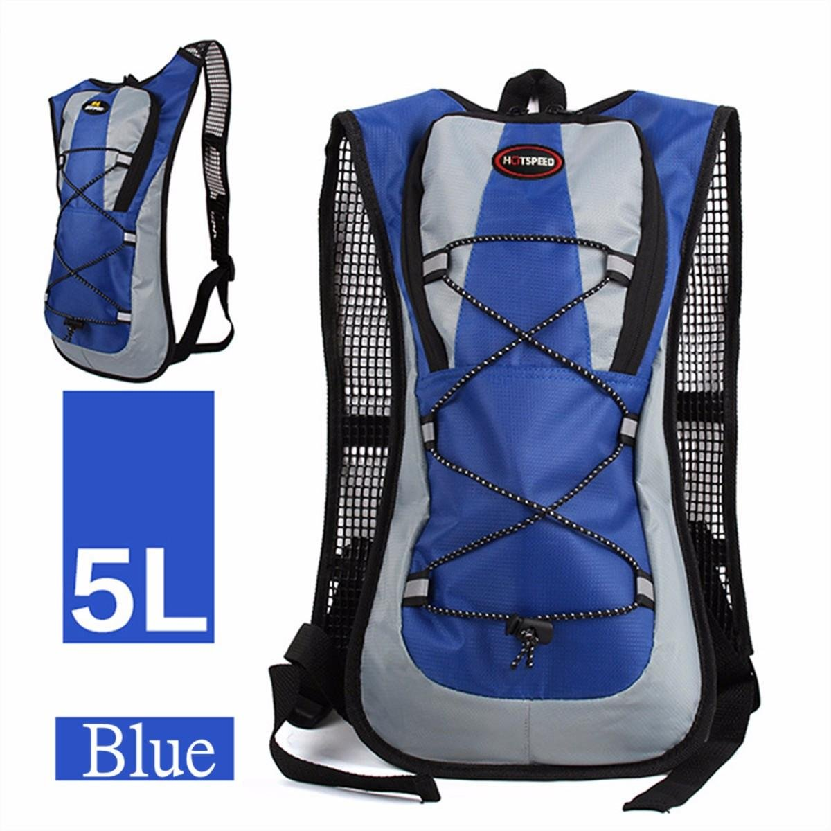 IPRee 5L Running Hydration Backpack Rucksack 2L Straw Water Bladder Bag For Hiking Climbing - Blue