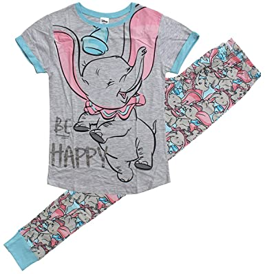 65a71b6a25c8 Womens Disney Dumbo Elephant Be Happy Gift Pack Pyjamas Plus Sizes from 8  to 22  Amazon.co.uk  Clothing
