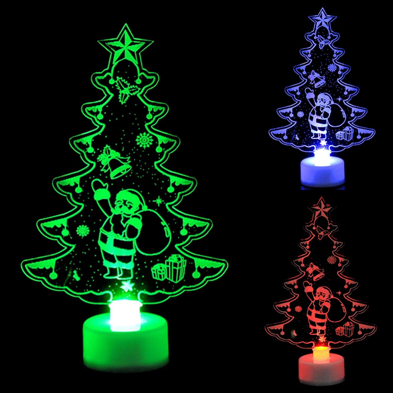 3 PCS Merry Christmas Multi Color Night Light Xmas Tree Santa Claus ...
