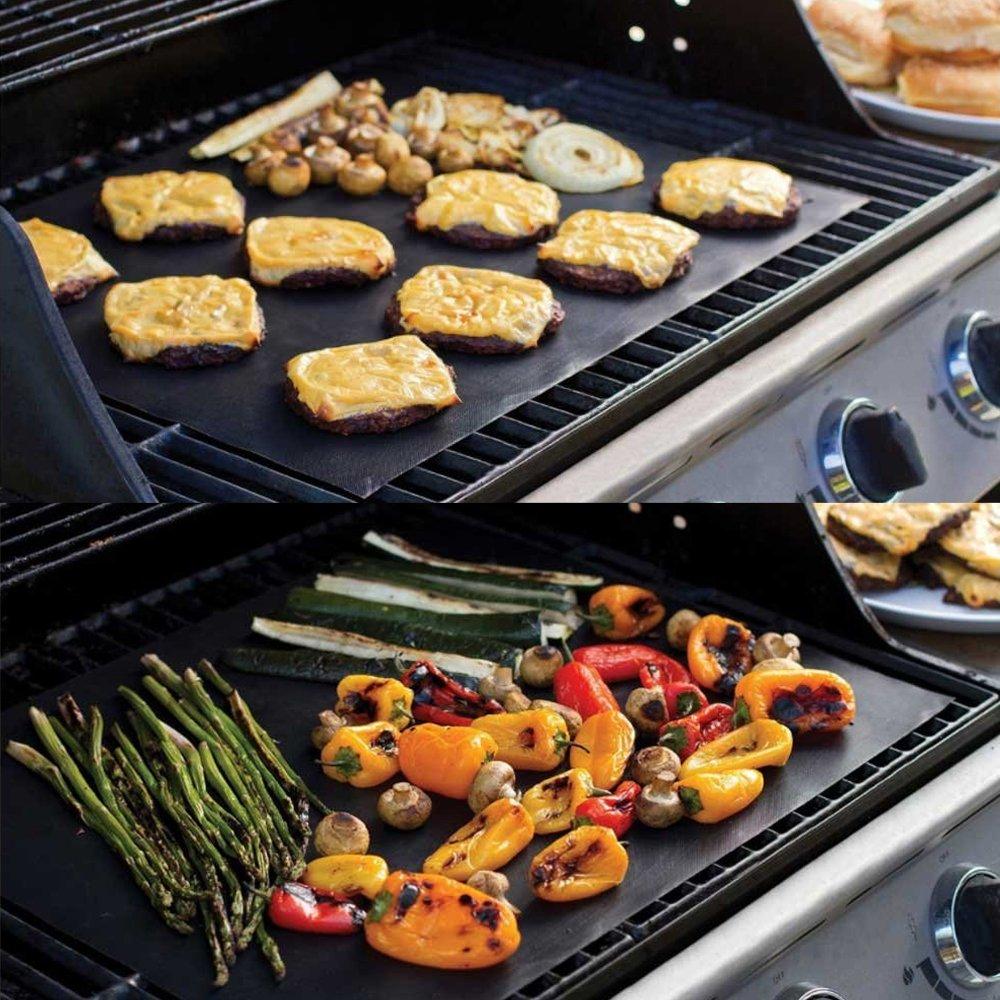 r/éutilisable et Facile /à Nettoyer Fonctionne sur Le gaz UMIWE Tapis de Barbecue Gril /électrique et Plus Tapis de Barbecue antiadh/ésif Ensemble de 2 Charbon de Bois 2pcs