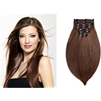 Clip In Hair Extensions Human Hair 20 Inch 150 Gram 8 Pcs Per Set Full Head Thick Long Soft Silky Remi Straight Double Weft Clip Extensions for Women (20 Inches, Dark Brown)