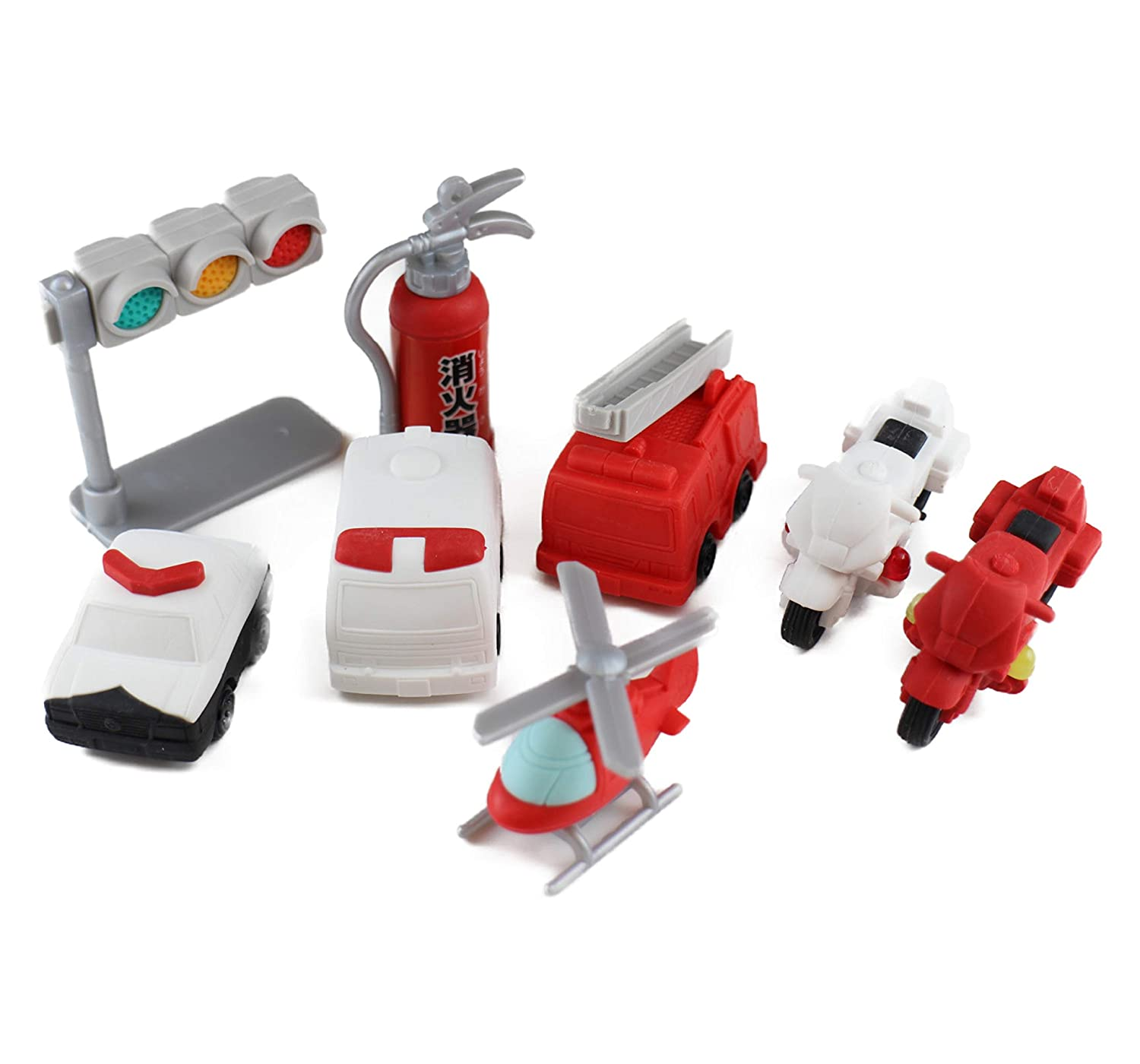 Iwako Japanese Erasers Police and Fire Fighting Set of 8 with Japanese Stationery Original Package Japanese stationery store