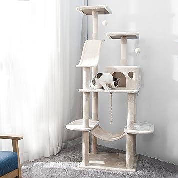 PURLOVE® Árbol de Gato Grande rascador de Gato Centro de Actividades rascador Post Escalada Torre árbol con Gato Juguetes Ratón: Amazon.es: Productos para ...