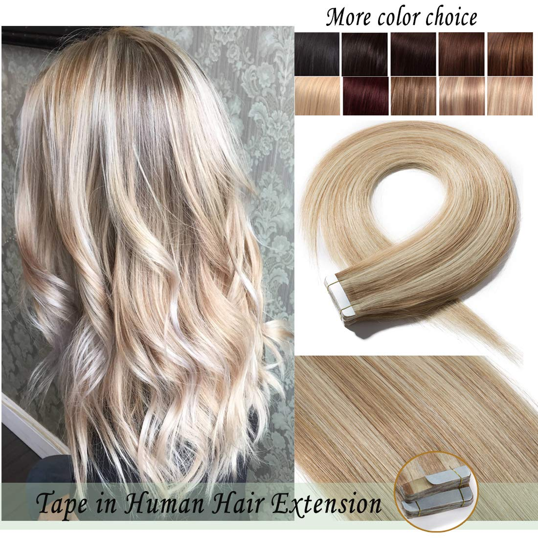 S-noilite Tape in Human Hair Extension for Women Glue in Remy Human Hair Piece Seamless Skin Weft Invisible Double Tape Full Head Straight 40 Pcs 100 Gram 16Inch #18P613 Ash Blonde&Bleach Blonde by S-noilite