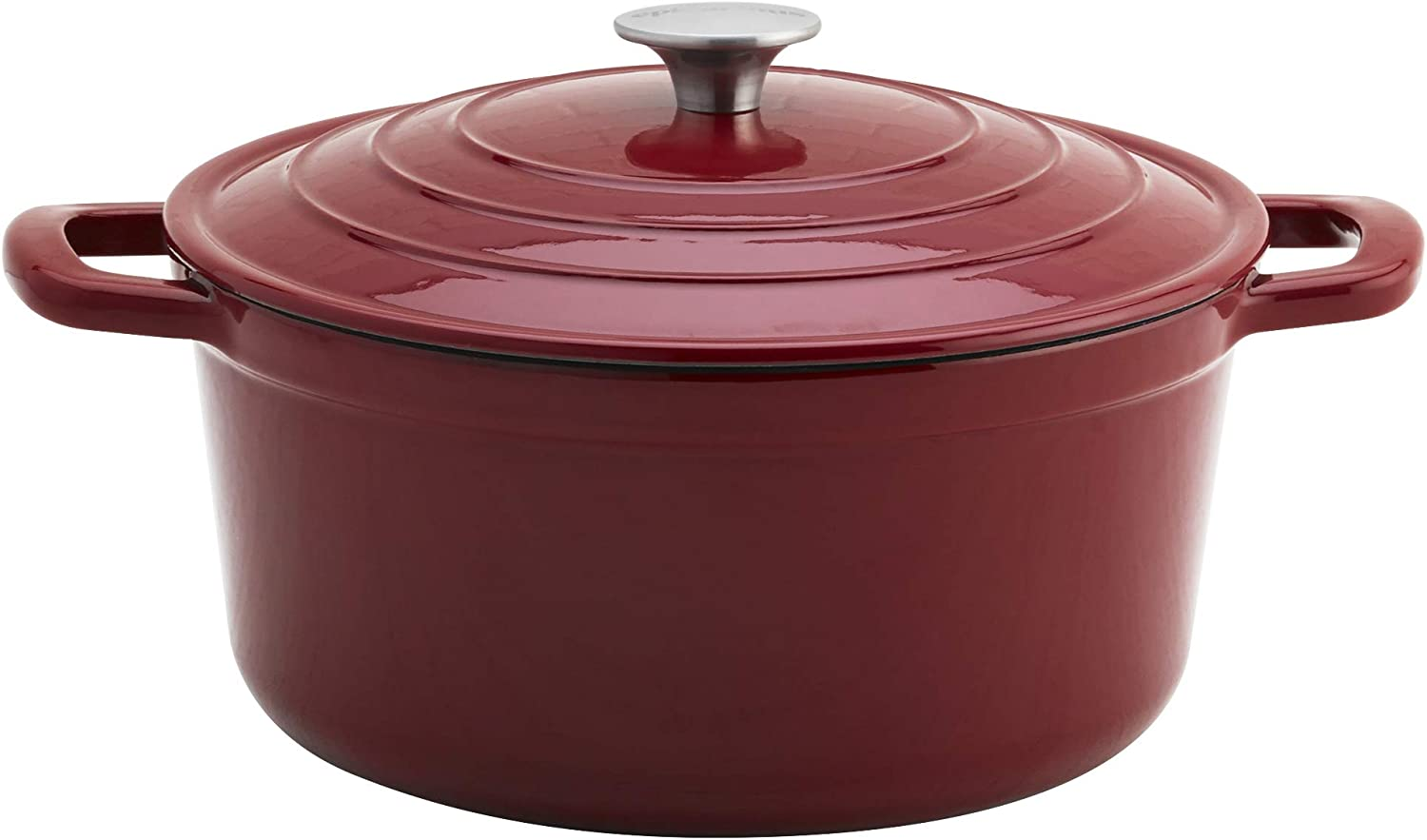 Epicurious Cookware Collection- Enameled Cast Iron Covered Dutch Oven, 6 Quart Dutch Oven Red