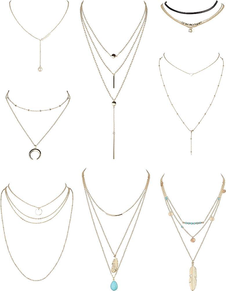 2 Pcs Double Layered Pendant Necklace Set Wife Gift Bohemian Pendant Necklace Boho Pendant Necklace Circle Dangle Cowrie Shell Pendant