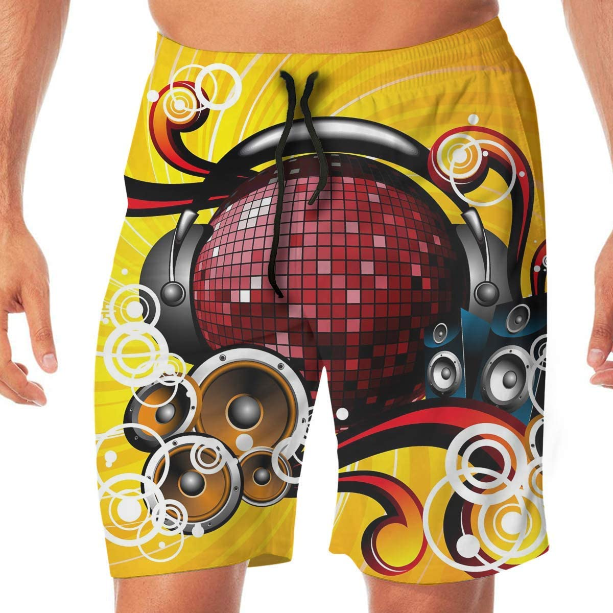 Quick Dry Mens Beach Shorts Music Surfing Trunks Surf Board Pants Pockets