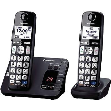 Panasonic KX-TGE232B - Teléfono (Teléfono DECT, Terminal inalámbrico, Altavoz, 100 entradas, Identificador de Llamadas, Negro): Amazon.es: Electrónica