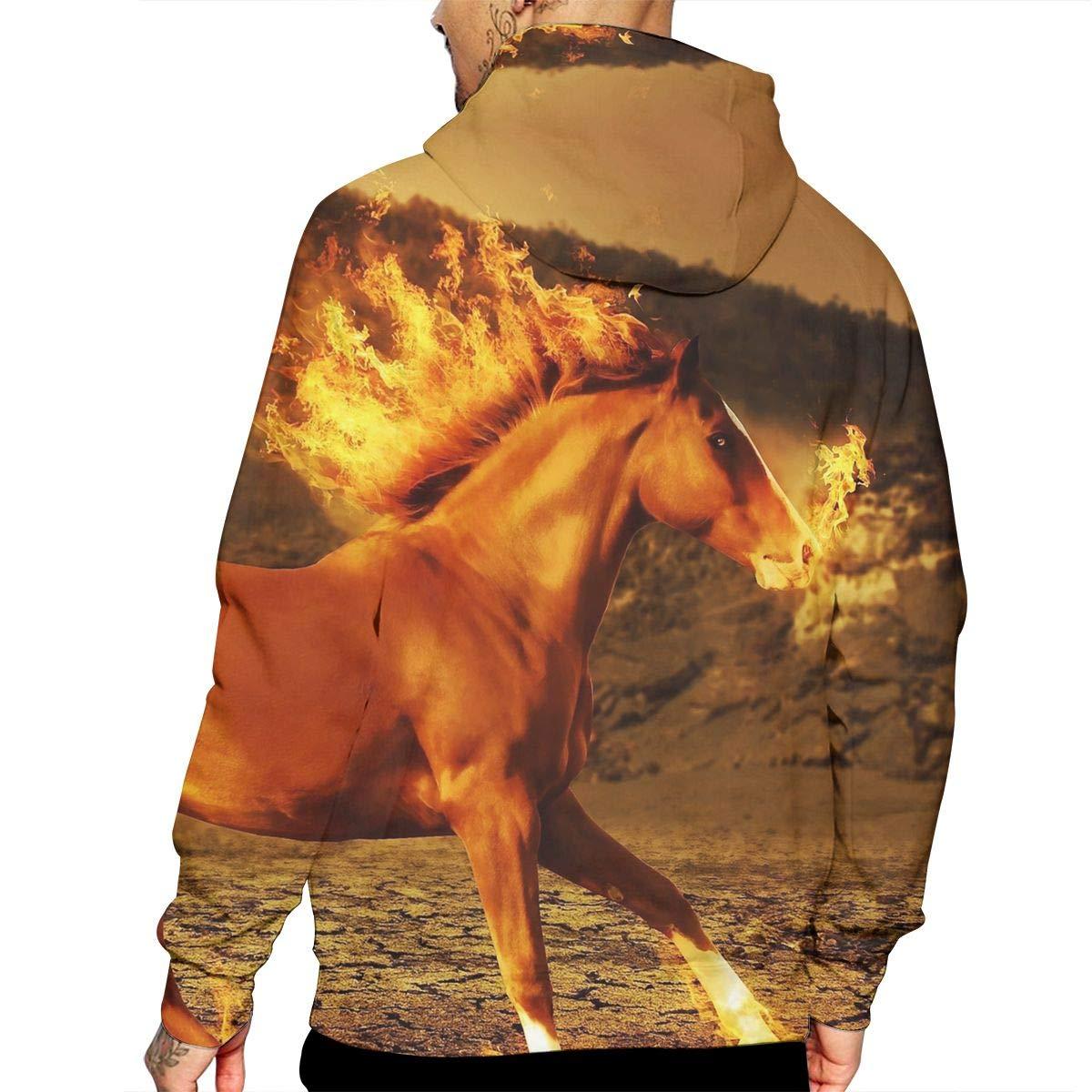 YUANSHAN Sporting Horse Mans Long Sleeve Hoodie Casual Pocket Hooded Sweatshirt