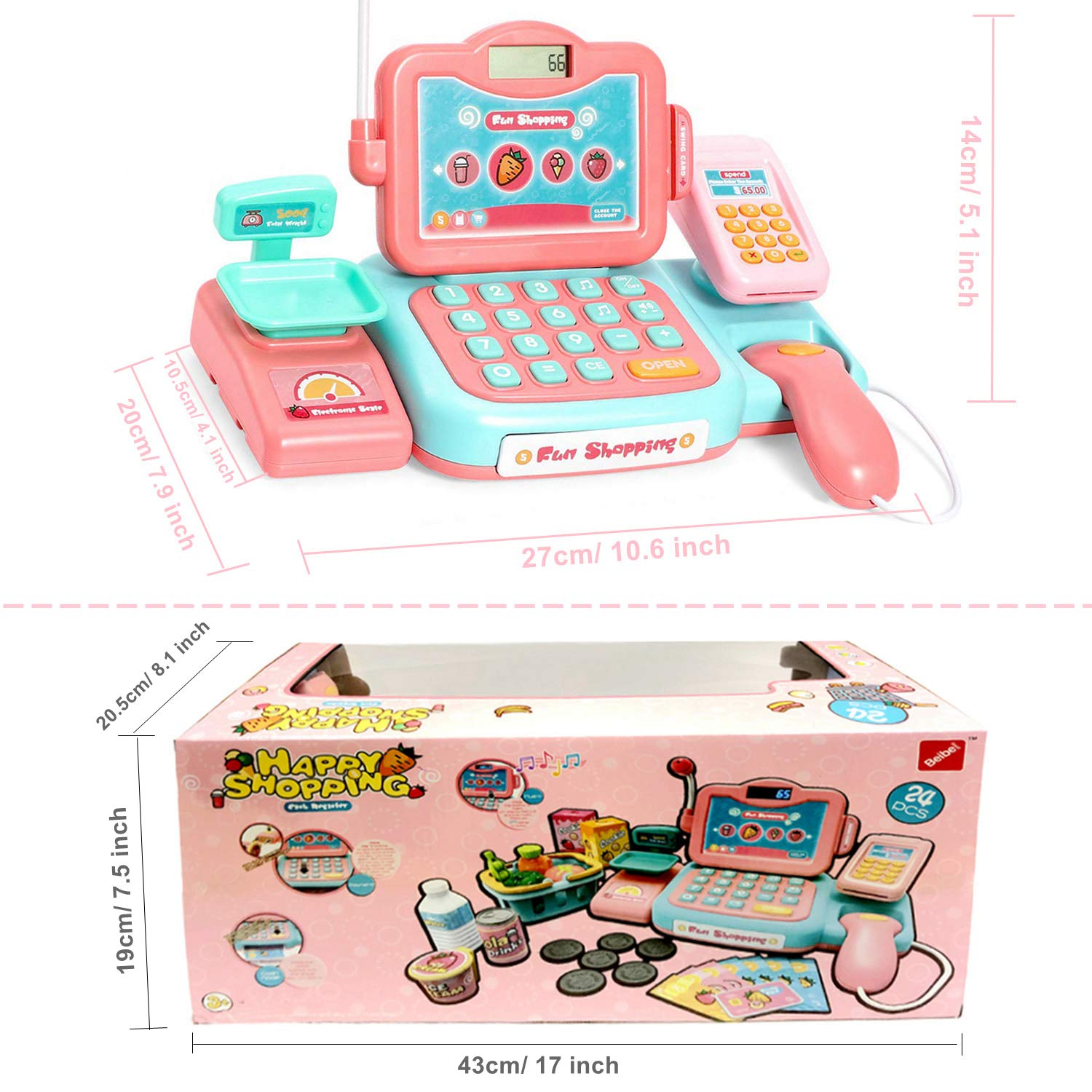 YYoomi Pretend Play Educational Cash Register Toy Classic Counting Toy with Microphone/ Calculator/ Scanner/ Sound/ Music for Kids & Toddlers & Preschoolers by YYoomi (Image #7)