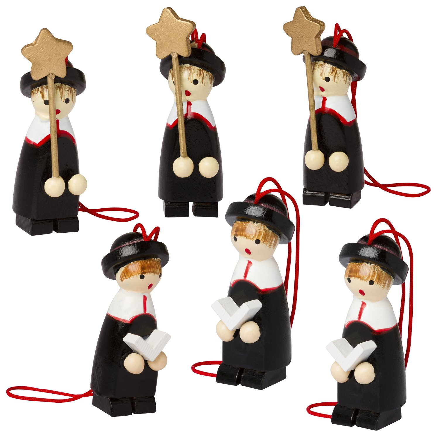 set of 6 wooden christmas tree ornaments designed in germany christmas carolers amazoncouk kitchen home