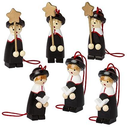 Amazon.com: BRUBAKER 6 Handpainted Wooden Christmas Tree Ornaments ...