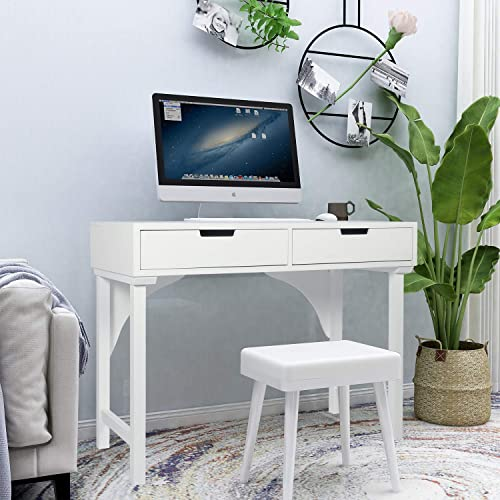 Stable 39 Inch Modern White Writing Desk
