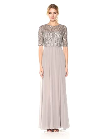 85cdf7d4d4 Adrianna Papell Women s Long Beaded Gown with Elbow Sleeve and Chiffon  Skirt