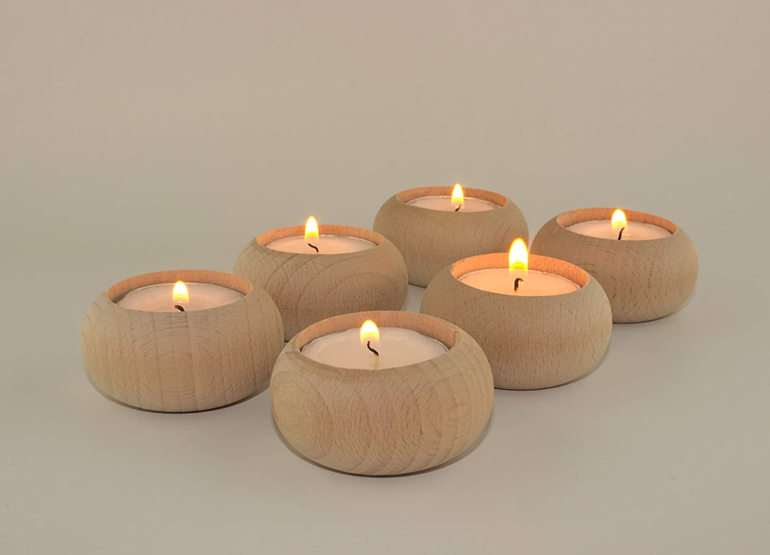 Wood Candle Holders for votives and Tea Lights Candles Set of 6. Dining and Wedding Table centerpieces for Receptions or Home Decor, Ideal for Handmade Shower Favors & Housewarming Gift