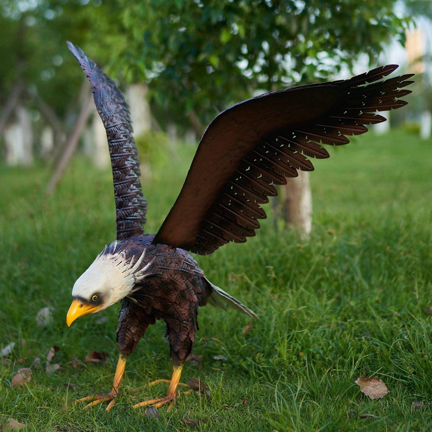 chisheen Metal Bald Eagle Garden Statue Outdoor Large Bird Metal Yard Lawn Art Sculpture