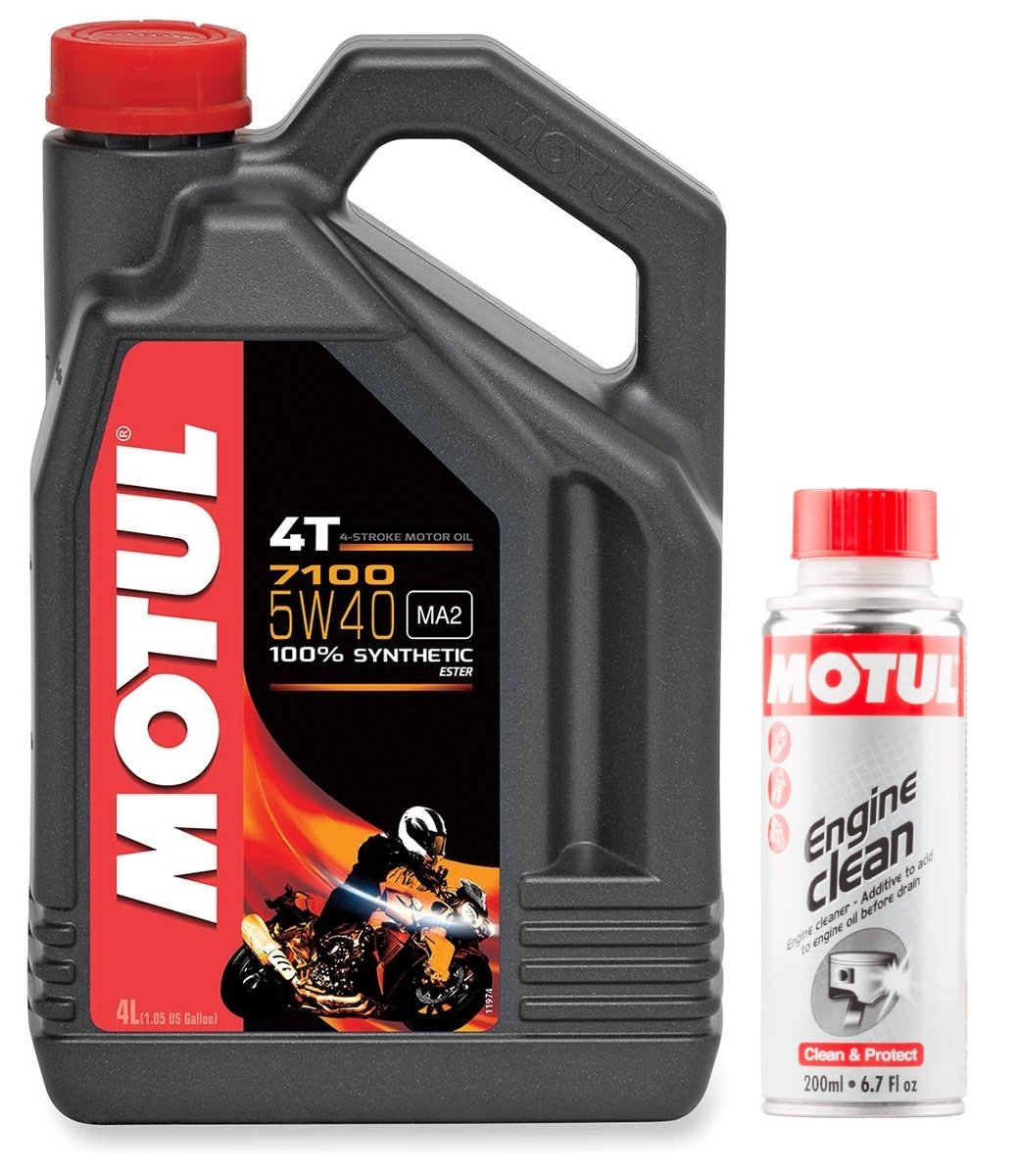 MOTUL Duo Aceite Moto 7100 4T 5 W-40, 4 L + Engine Clean 200 ml: Amazon.es: Coche y moto