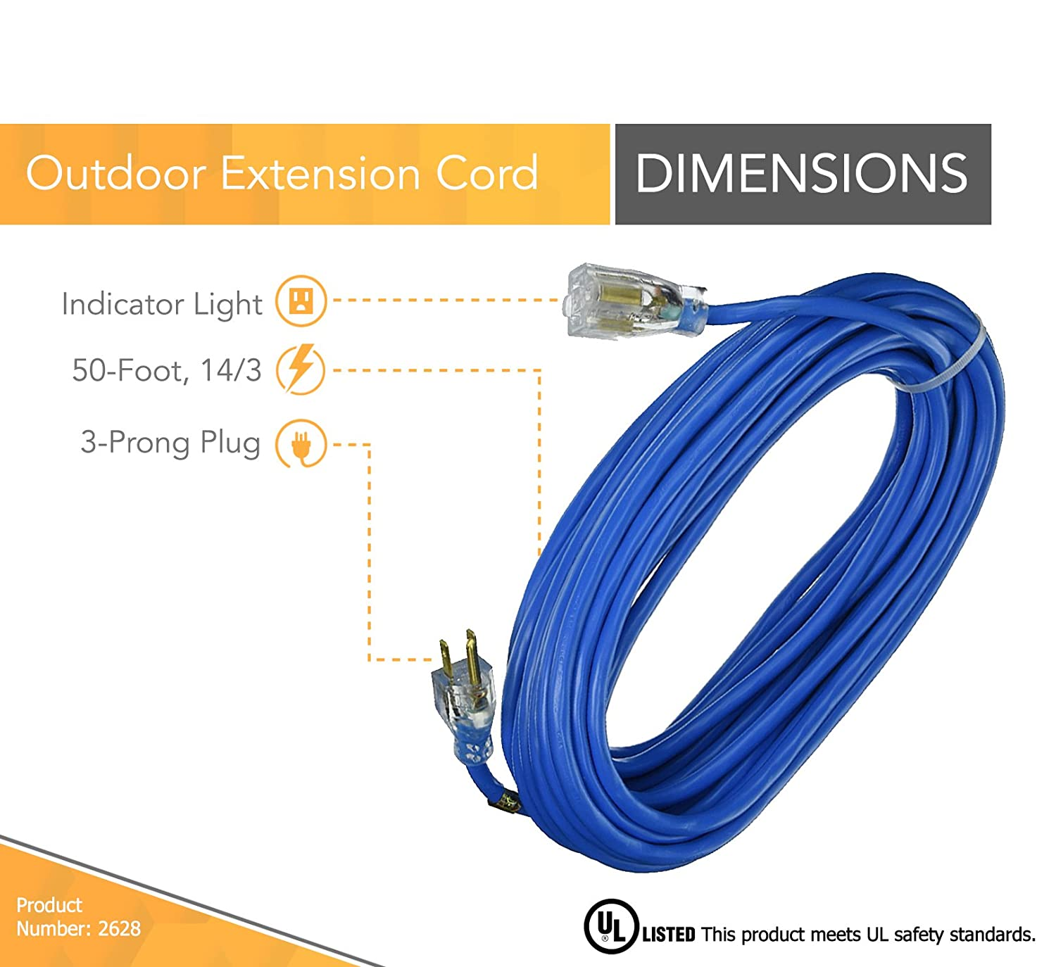 Coleman Cable 2627 Outdoor Extension Cord With Lighted Ends Made Of Outside Electrical Wiring Regulations Cold Flex Weather Proof Material 25 Feet 14 3 Blue