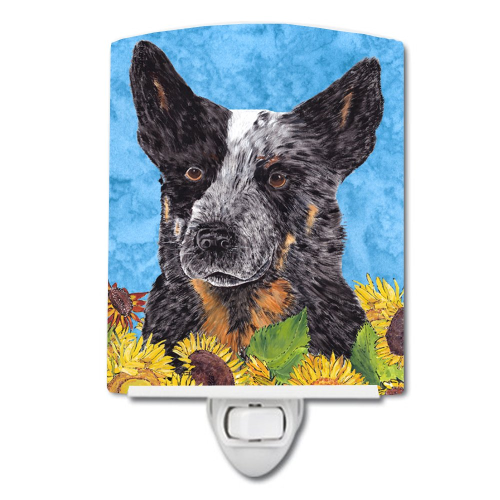 Caroline's Treasures Australian Cattle Dog Summer Flowers Night Light, 6'' x 4'', Multicolor
