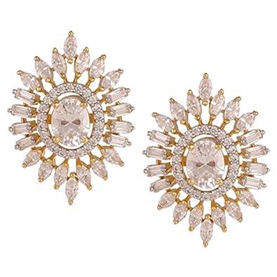 Amazon.com: swasti Jewels con forma de flor arete de tuerca ...