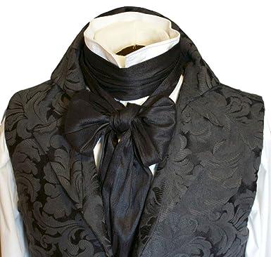 429a390bf6ee Elegantascot Men's Handmade Extra-Long Regency Dupioni Silk Ascot Tie Black