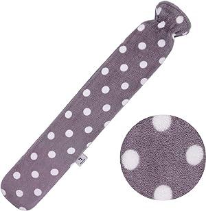 HomeTop Premium 2.25 Liters Rubber Long Hot Water Bottle w/Soft Gray Polka Dot Fleece Cover