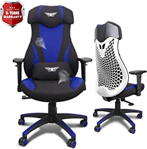 Acethrone PC Gaming Chair Ergonomic Office Chair Desk Chair with Lift Headrest and Armrests, Flexible Adjustable Height and Reclining Device (Blue)