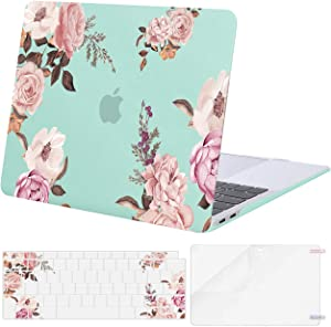 MOSISO Compatible with MacBook Air 13 inch Case 2020 2019 2018 Release A2337 M1 A2179 A1932 Retina Display with Touch ID, Plastic Peony Hard Shell Case & Keyboard Cover & Screen Protector, Green