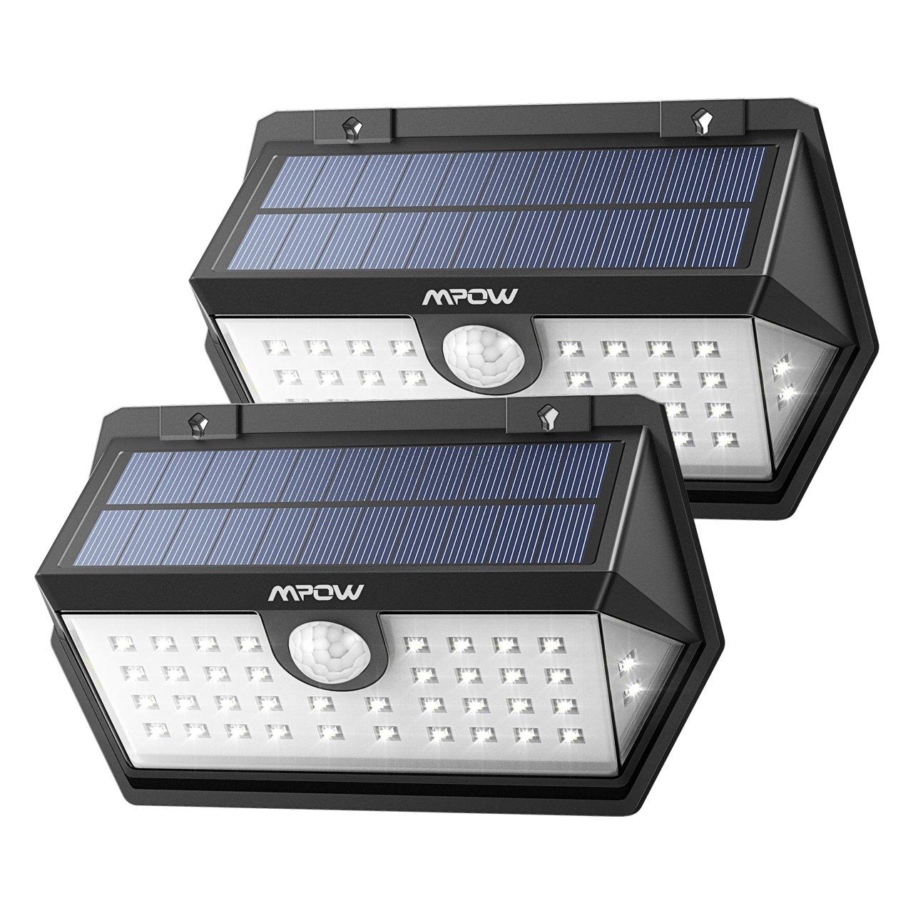 【ERWEITERTE VERSION】Mpow 2 Stück Weitwinkel 40 LED Solarleuchte, Superhelles Bewegung Solarlicht, Solarbetriebene Sicherheitswandleuchte, verbesserte 120 ° Weitwinkel Sensorkopf, Wasserdicht, Hitzebeständig, für Garten, Garage, Auffahrt, Pfad, Innenhof &am