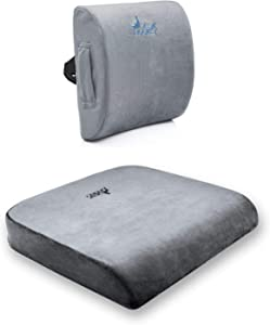 Luxury Office Chair Enhancement Bundle - Desk Jockey Memory Foam Lumbar Support and XL Seat Cushion