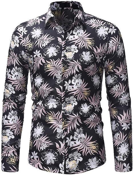 SFHK Hombre Moda Manga Larga Casual Flor Imprimiendo Camisa,XXXL: Amazon.es: Deportes y aire libre