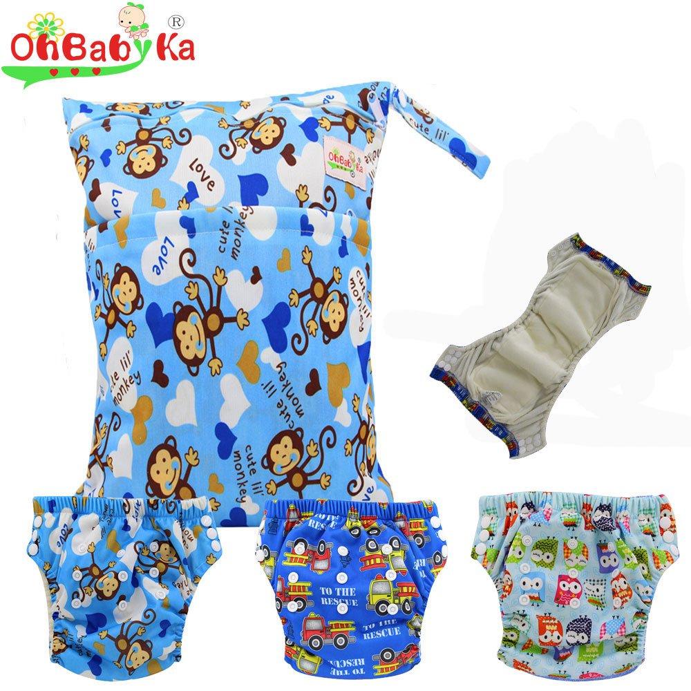 Baby Waterproof Reuseable Training Nappy Diapers 3pcs, A Wet/Dry Bag by Ohbabyka by OHBABYKA