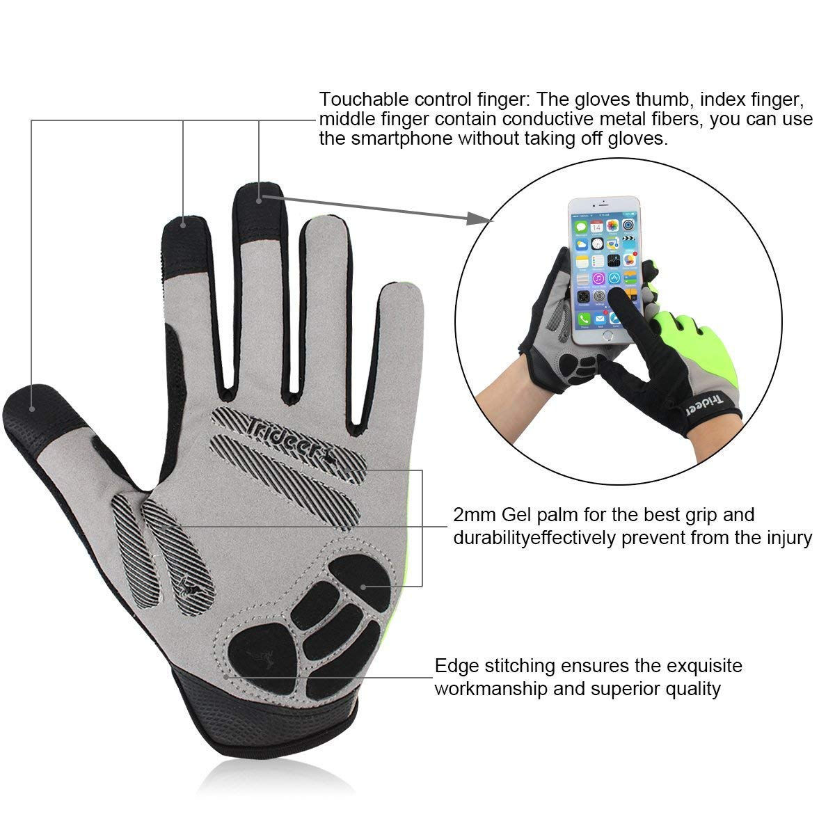 Bicycle Racing Gloves Biking Gloves Touch-Screen Mountain Road Gloves Anti-Slip Trideer Padded Full Finger Cycling Gloves