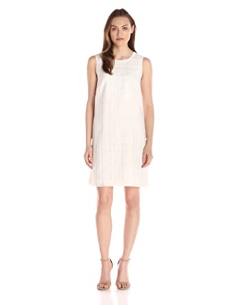 Tommy Hilfiger Women's Sheer Woven Plaid Dress, Ivory, 6