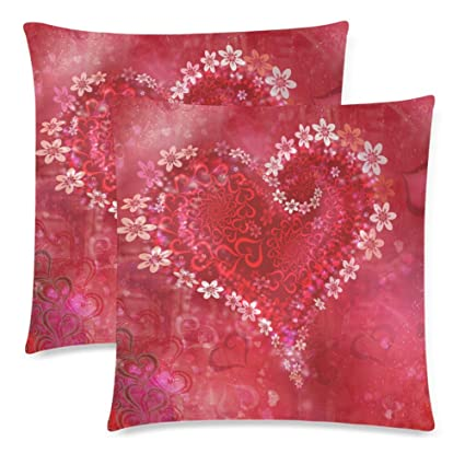 68e0fd4ad0c9 InterestPrint 2 Pack Red Heart Shape Love Pillow Case Cover 18x18 Twin  Sides, Valentine's Day Zippered Throw Cushion Pillowcase Protector Set ...