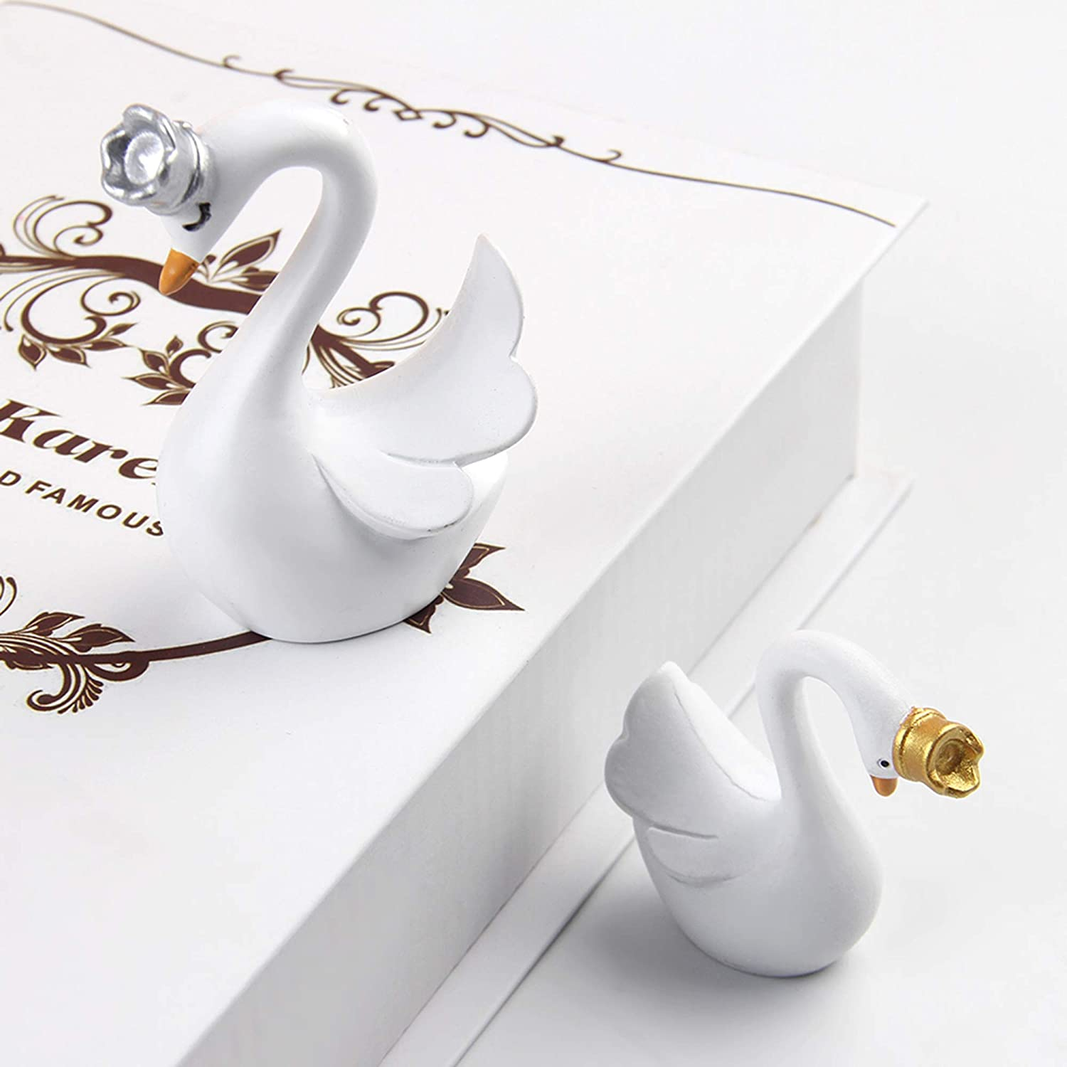 Newqueen Swan Figurine Cake Topper with Gold Crown Resin 3D Swan Doll Cake Decoration Baby Shower Birthday Party Cake Decoration