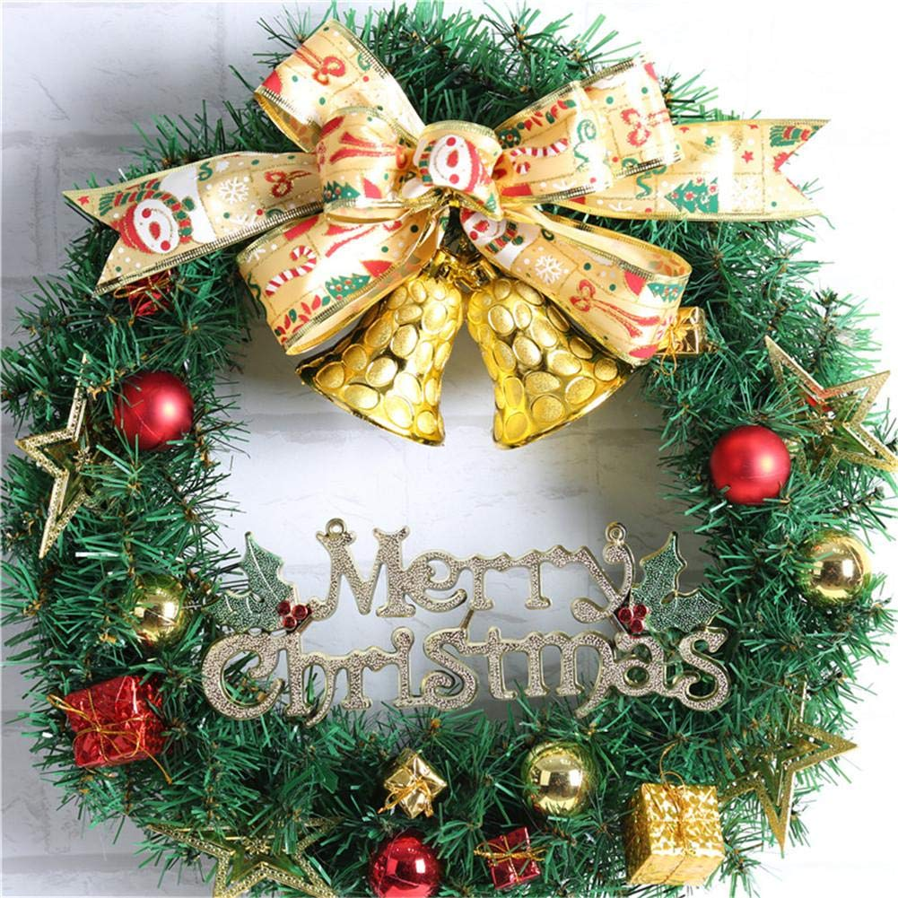 Ribbon Bell Christmas Wreath Artificial Wreath Decorative Wreath Home Window Shopping Mall Hotel Decoration Christmas Decoration by Topaty (Image #7)