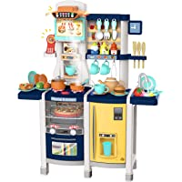 UNIH Toys Kitchen Set Pretend Kitchen Playset Toddler Kitchen Toy with Realistic Lights & Sounds,Play Oven & Sink,Coffee…